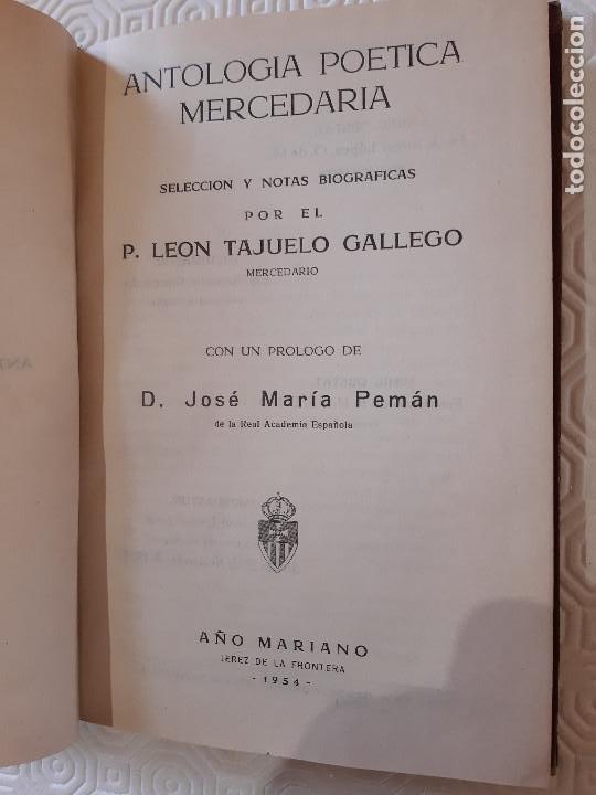 Libros de segunda mano: LIBRO ANTOLOGIA POETICA MERCEDARIA. LEON TAJUELO. MERCEDARIO. 1954 - Foto 2 - 218031025