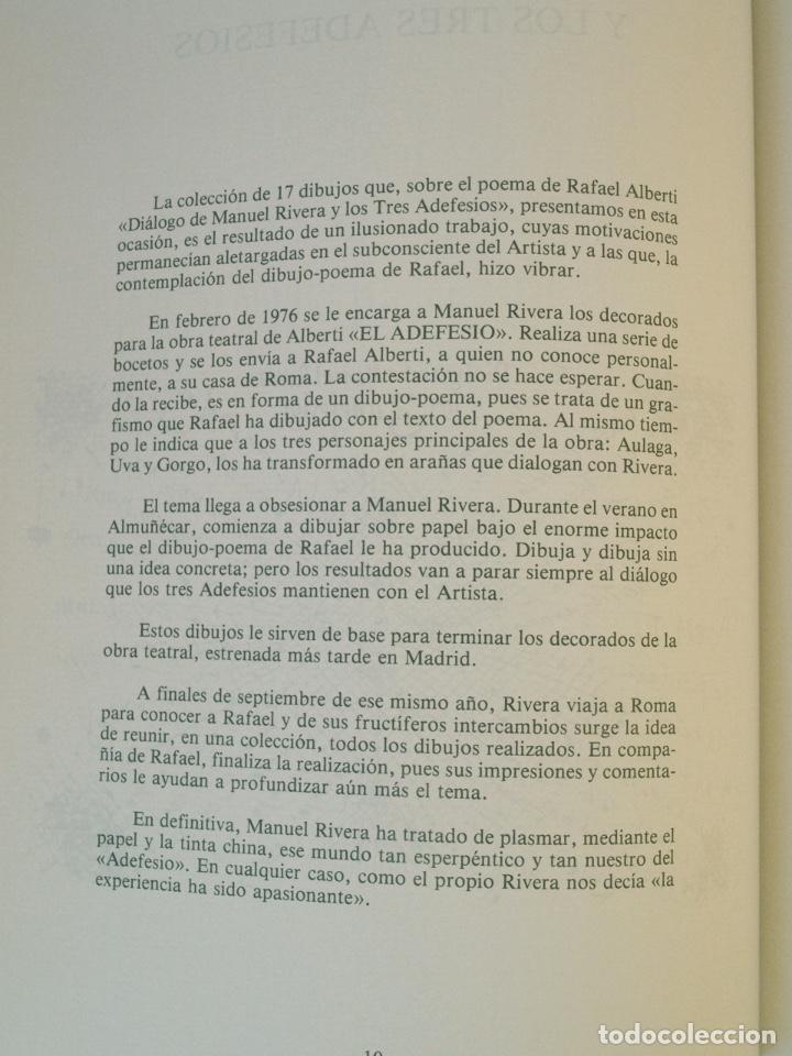 Libros de segunda mano: RAFAEL ALBERTI Y MANUEL RIVERA: POEMAS Y DIBUJOS - CULTURAL ALBACETE - CON DEDICATORIA A PACO RABAL - Foto 7 - 225590210