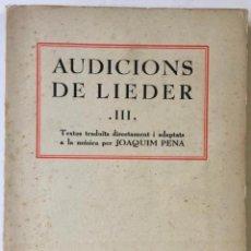 Libros de segunda mano: AUDICIONS DE LIEDER. SÈRIE III. DEDICAT.. Lote 228430845