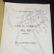 Libros de segunda mano: CON EL CARBÓN DEL SOL (SELECCIÓN.) DIBUJOS DE BENJAMÍN PALENCIA. JUAN RAMÓN JIMÉNEZ, 1972. Lote 229653565