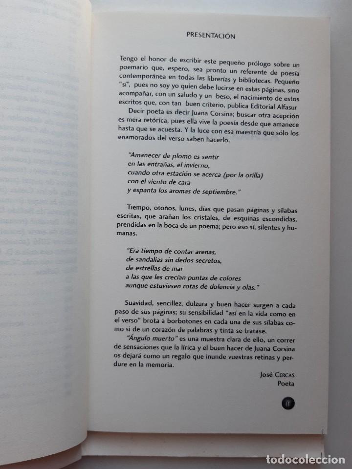 Libros de segunda mano: ANGULO MUERTO Juana Corsina Alfasur Poesia Contemporanea y Clasica 2010 - Foto 15 - 241826465