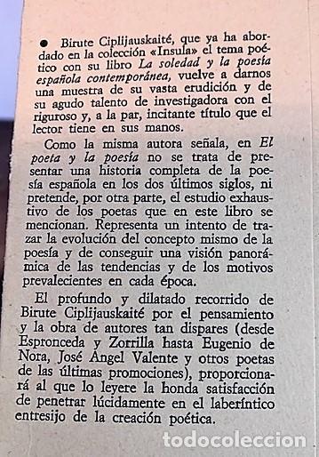 Libros de segunda mano: El Poeta y la Poesia de Birute Ciplijauskaite. - Foto 4 - 245205930