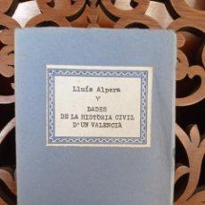 Libros de segunda mano: DADES DE LA HISTORIA CIVIL D'UN VALENCIÁ, LLUÍS ALPERA 1958 - 1978. POESIA 1980. EN VALENCIANO. Lote 248093305
