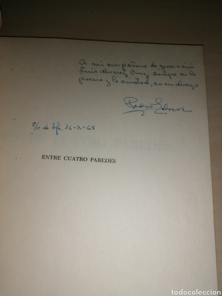 Libros de segunda mano: Pedro García Cabrera. Entre 4 paredes -1968 - Dedicatoria autógrafa - Foto 2 - 253030690