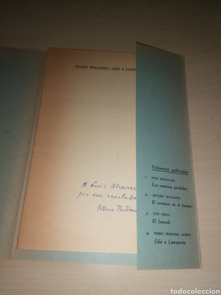 Libros de segunda mano: Oda a Lanzarote. Pedro Perdomo Acedo, Las Palmas 1966. Dedicatoria autógrafa - Foto 2 - 253934865