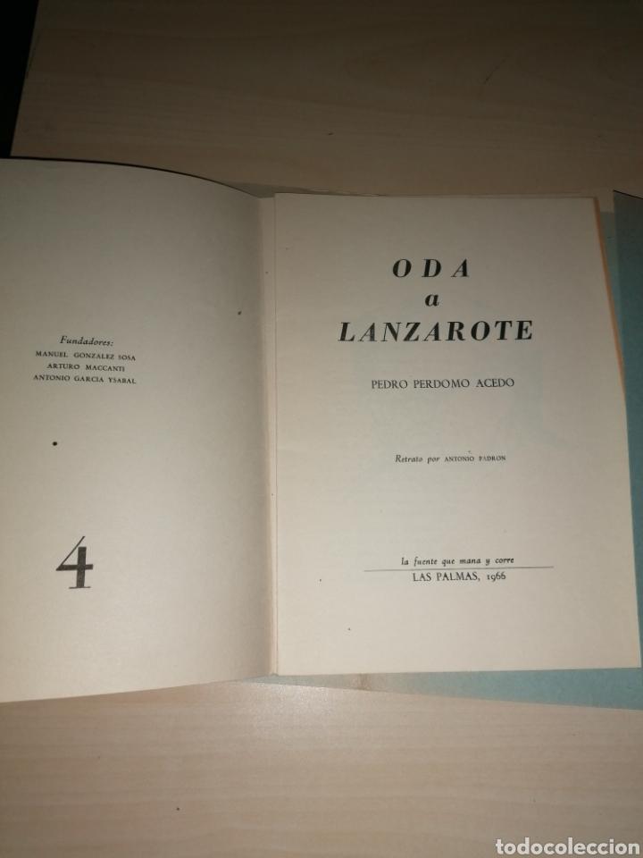 Libros de segunda mano: Oda a Lanzarote. Pedro Perdomo Acedo, Las Palmas 1966. Dedicatoria autógrafa - Foto 3 - 253934865