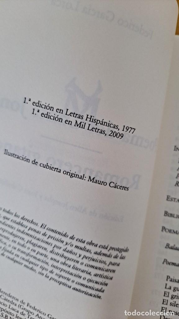 Libros de segunda mano: FEDERICO GARCIA LORCA - POEMA DEL CANTE JONDO Y ROMANCERO GITANO - CATEDRA MIL LETRAS 2009 - Foto 4 - 254409750