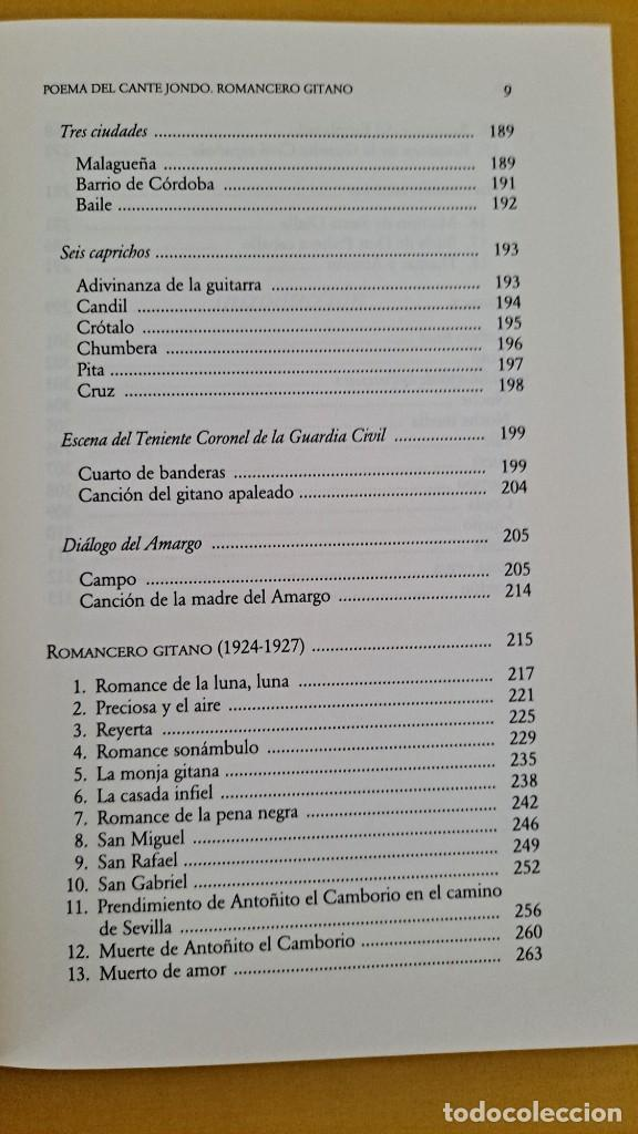 Libros de segunda mano: FEDERICO GARCIA LORCA - POEMA DEL CANTE JONDO Y ROMANCERO GITANO - CATEDRA MIL LETRAS 2009 - Foto 6 - 254409750