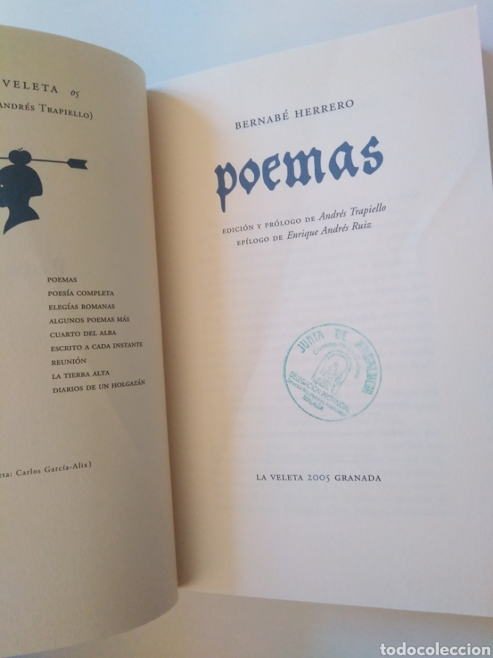 Libros de segunda mano: Bernabé Herrero. Poemas, edición de Andrés Trapiello - Foto 3 - 260319310