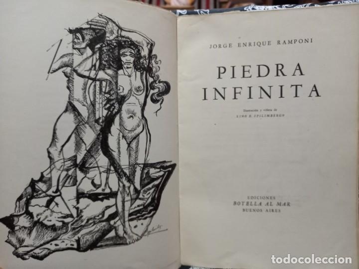 Libros de segunda mano: Piedra Infinita - Jorge Enrique Ramponi - Ilustró Spilimbergo - 1948 - Botella al mar - Numerado - Foto 2 - 263219160