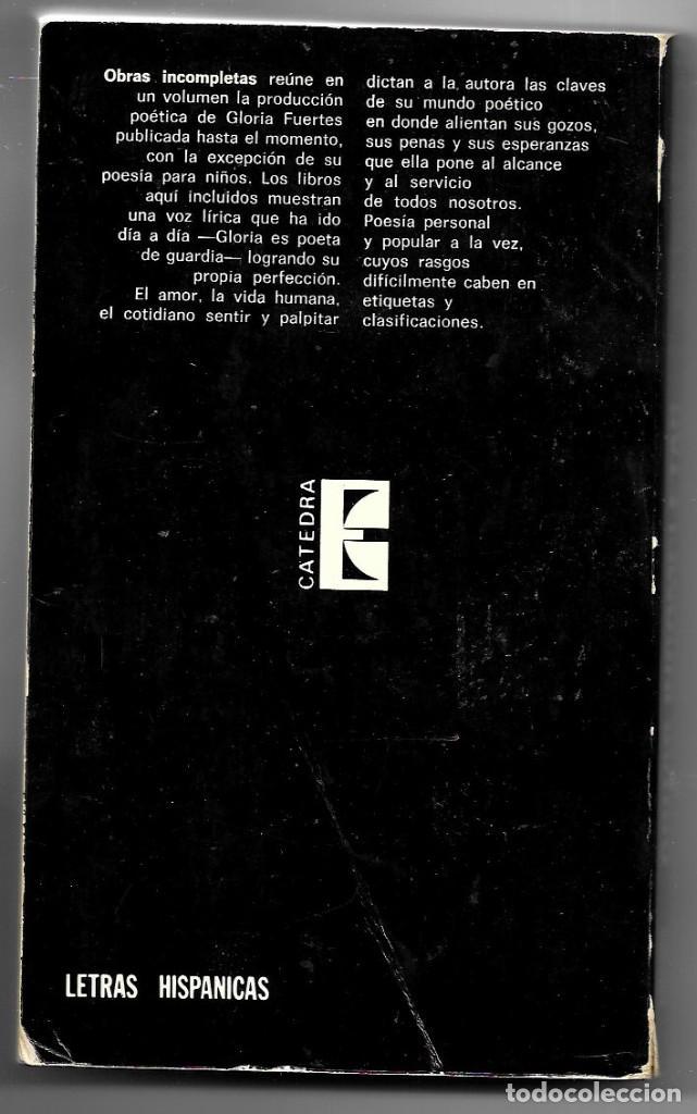 Libros de segunda mano: Gloria Fuertes . Obras incompletas . Cátedra - Foto 2 - 267704879