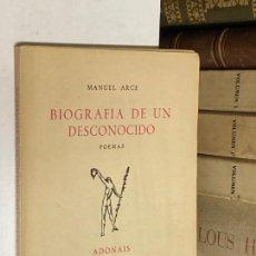 Libros de segunda mano: AÑO 1954 - BIOGRAFÍA DE UN DESCONOCIDO POEMAS POR MANUEL ARCE - ADONAIS CXI POESÍA. Lote 271549028