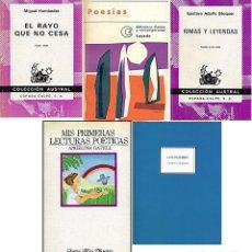 Libros de segunda mano: ANTONIO MACHADO, MIGUEL HERNÁNDEZ, BÉCQUER, ANGELINA GATELL, LUIS PALMERO, LOTE DE CINCO LIBROS. Lote 272459453