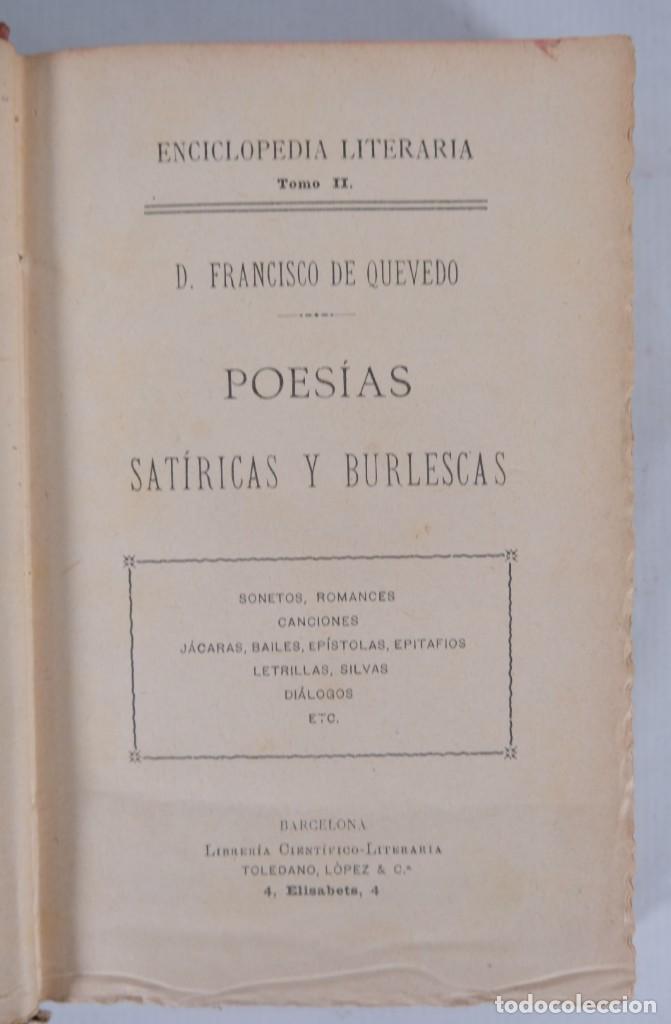 Libros de segunda mano: Poesías satíricas y burlescas - Francisco de Quevedo - Toledano López & Cia - Foto 5 - 277285838