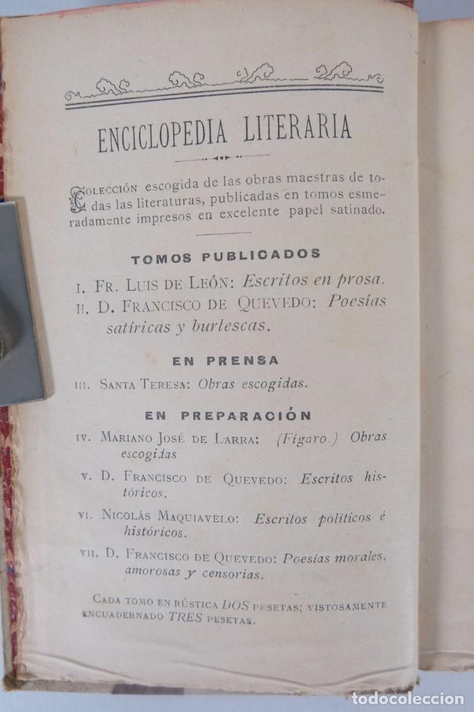 Libros de segunda mano: Poesías satíricas y burlescas - Francisco de Quevedo - Toledano López & Cia - Foto 6 - 277285838