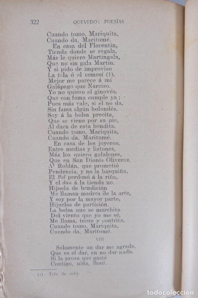 Libros de segunda mano: Poesías satíricas y burlescas - Francisco de Quevedo - Toledano López & Cia - Foto 8 - 277285838