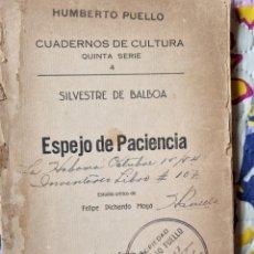 Libros de segunda mano: ESPEJO DE PACIENCIA. CUBA 1942.. Lote 288149893