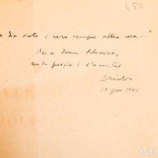 Libros de segunda mano: CARLES RIBA : VERSIONS DE HÖLDERLIN - DEDICATÒRIA AUTÒGRAFA DE L'AUTOR A JOAN LLACUNA - 125 EX.. Lote 293588218