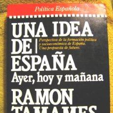 Libros de segunda mano: UNA IDEA DE ESPAÑA, RAMON TAMAMES, PLAZA-JANES POLITICA ESPAÑOLA, 1985.. Lote 26191999