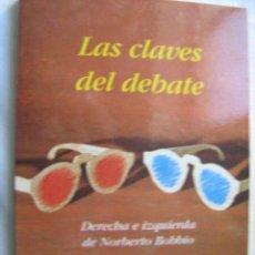 Libros de segunda mano: LAS CLAVES DEL DEBATE. BOBBIO, NORBERTO. 1995. Lote 29381826