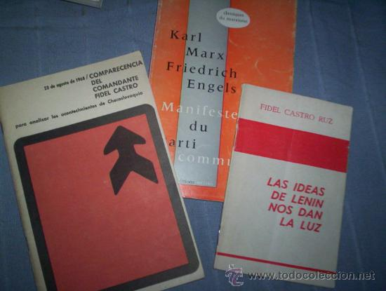 2 FOLLETOS TEMA COMUNISMO MANIFIESTO COMUNISTA CHECOSLOVAQUIA AÑOS 60 FIDEL CASTRO CUBA (Libros de Segunda Mano - Pensamiento - Política)