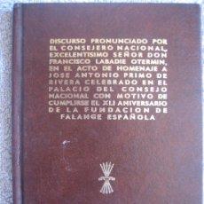 Libros de segunda mano: JOSÉ ANTONIO PRIMO DE RIVERA. FALANGE ESPAÑOLA. Lote 30976120