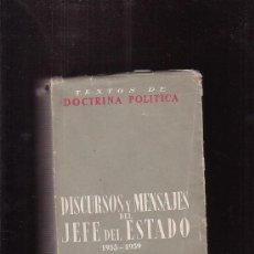 Libros de segunda mano: DISCURSOS Y MENSAJES DEL JEFE DEL ESTADO FRANCISCO FRANCO 1955-1959 / PUBLICACIONES ESPAÑOLAS, 1960. Lote 33142182