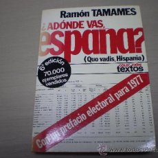 Libros de segunda mano: ADONDE VAS ESPAÑA-RAMON TAMAMES-EDITORIAL PLANETA-AÑO 1976-P 1. Lote 35916991