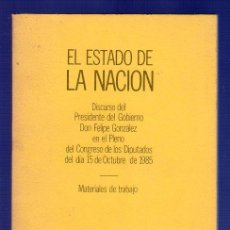 Libros de segunda mano: EL ESTADO DE LA NACION. EDITA: OFICINA DEL PORTAVOZ DEL GOBIERNO. AÑO 1985.. Lote 39412815