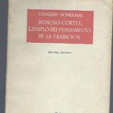 Libros de segunda mano: EDMUND SCHRAMM, DONOSO CORTES, EJEMPLO DEL PENSAMIENTO DE LA TRADICIÓN, ATENEO MADRID 1961. Lote 40572823