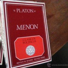 Libros de segunda mano: MENON, PLATON, TR RUIZ DE ELVIRA, CLASICOS POLITICOS, EDICION BILINGUE, BOLS6. Lote 41297430