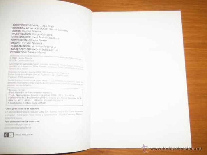 Libros de segunda mano: SILVIO FRONDIZI, UN FRANCOTIRADOR MARXISTA, por H. Brienza - Argentina - 2006 - RARO! - Foto 2 - 41373510
