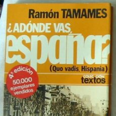 Libros de segunda mano: ¿ADÓNDE VAS, ESPAÑA? - RAMÓN TAMAMES - PLANETA 1976 - VER ÍNDICE Y DESCRIPCIÓN. Lote 42609006
