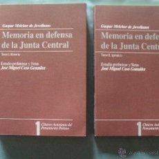 Libros de segunda mano: GASPAR MELCHOR DE JOVELLANOS -MEMORIA EN DEFENSA DE LA JUNTA CENTRAL - TOMOS I Y II -. Lote 43223758
