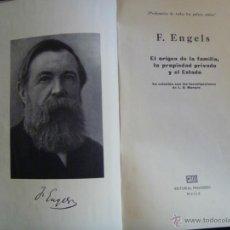 Libros de segunda mano: EL ORIGEN DE LA FAMILIA, LA PROPIEDAD PRIVADA Y EL ESTADO . F. ENGELS . EDITORIAL PROGRESO, MOSCU.. Lote 43851790