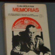 Libros de segunda mano: LIBRO: MOLA: 'MEMORIAS' (1977). Lote 44240948