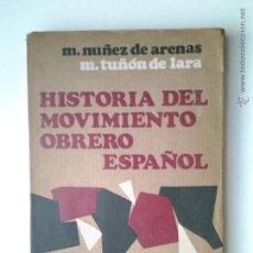 Libros de segunda mano: HISTORIA DEL MOVIMIENTO OBRERO ESPAÑOL, NUÑEZ DE ARENAS, 1970.. Lote 47474224