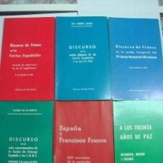 Libros de segunda mano: CONJUNTO DE 7 LIBROS DISCURSOS DE FRANCO.. Lote 50604986
