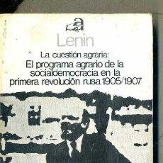 Libros de segunda mano: LENIN : PROGRAMA AGRARIO DE LA SOCIALDEMOCRACIA - PRIMERA REVOLUCIÓN RUSA 1905/1907 (AYUSO, 1975). Lote 51994596