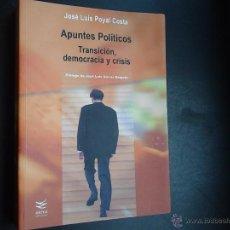Libros de segunda mano: APUNTES POLITICOS TRANSICIÓN DEMOCRACIA Y CRISIS JOSE LUIS POYAL COSTA. Lote 53472820