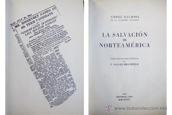 Libros de segunda mano: MAUROIS, André. La salvación de Norteamérica... 1944. - Foto 2 - 53656325