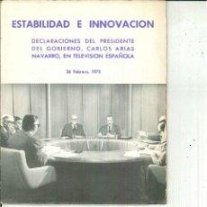 Libros de segunda mano: ESTABILIDAD E INNOVACIÓN. CARLOS ARIAS NAVARRO. Lote 54083185