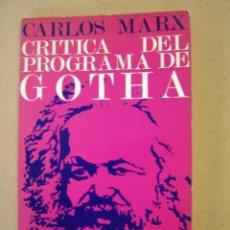 Libros de segunda mano: CRÍTICA DEL PROGRAMA DE GOTHA - CARLOS MARX. Lote 55686646