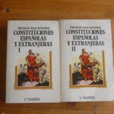 Libros de segunda mano: CONSTITUCIONES ESPAÑOLAS Y EXTRANJEROS JORGE DE ESTEBAN. 2 VOL. TAURUS. 1977 879 PP. Lote 57653581