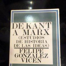Libros de segunda mano: DE KANT A MARX (ESTUDIOS DE HISTORIA DE LAS IDEAS) , FELIPE GONZÁLEZ VICEN. Lote 58186879