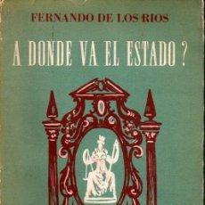 Libros de segunda mano: FERNANDO DE LOS RÍOS : A DÓNDE VA EL ESTADO? (SUDAMERICANA, 1951). Lote 58796921