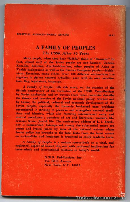 Libros de segunda mano: A Family of Peoples. The URSS after 50 years. New World Review Publications, Nueva York, 1973 - Foto 2 - 60625183