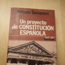 Libros de segunda mano: UN PROYECTO DE CONSTITUCION ESPAÑOLARAMON TAMAMESED. PLANETA1977. Lote 76648695