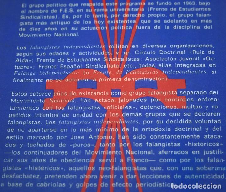 Libros de segunda mano: Manifiesto de los falangistas independientes - Falange - Ediciones F.E.S. - 1977 - Foto 2 - 76803599
