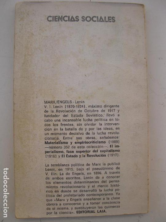 Libros de segunda mano: K. MARX / F. ENGELS - V.I. LENIN - EDITORIAL LAIA - AÑO 1974. - Foto 2 - 80635574